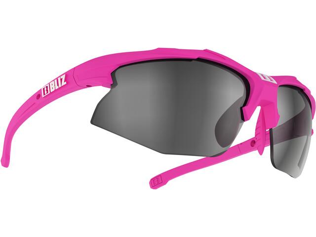 Bliz Hybrid M12 Lunettes Smallface, rubber neon pink/smoke with silver mirror